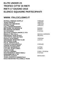 thumbnail of UNDER 23 TR CITTA DI RIETI 018 SQUADRE PARTECIPANTI EM PRODUCT
