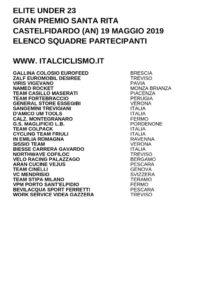 thumbnail of U23 GP SANTA RITA 2019 SQUADRE PARTECIPANTI