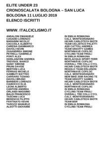 thumbnail of UNDER 23 CRONOSCALATA BOLOGNA SAN LUCA 2019 ELENCO ISCRITTI
