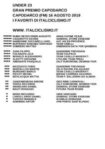 thumbnail of U23 GP CAPODARCO 2019 I FAVORITI ITALCICLISMO