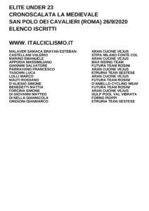 thumbnail of U23 ELENCO ISCRITTI CRONOSCALATA SAN POLO DEI CAVALIERI (ROMA) 2020
