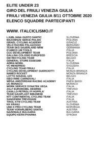 thumbnail of U23 GIRO DEL FRIULI VENEZIA GIULIA 2020 SQUADRE PARTECIPANTI OK