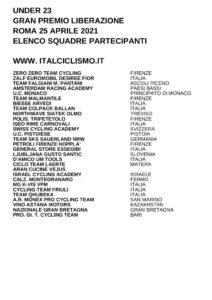 thumbnail of U233 GP LIBERAZIONE ROMA 2021 SQUADRE PARTECIPANTI