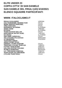 thumbnail of U23 COPPA CITTA DI SAN DANIELE 2021 SQUADRE PARTECIPANTI